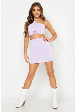 Womens Lilac One Shoulder Buckle Detail Crop Top