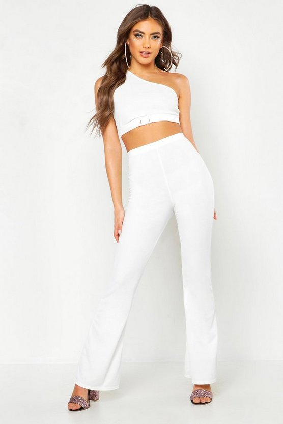 Womens White High Waisted Flare Trousers