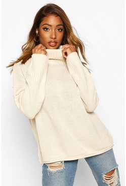 Womens Oatmeal Roll Neck Drop Shoulder Jumper