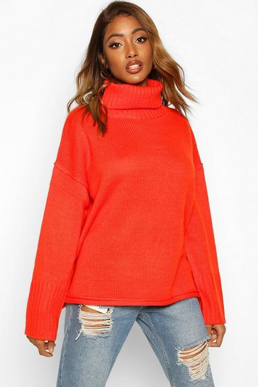 Womens Orange Roll Neck Drop Shoulder Jumper