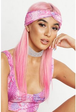 Womens Pink Snake Print Twist Headband