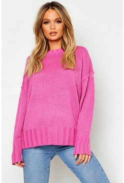 Womens Rose pink Oversized Jumper