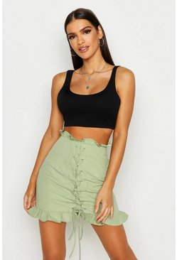 Womens Sage Lace Up Front Ruffle Mini Skirt