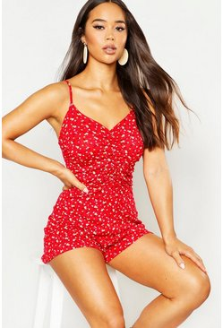 Womens Red Ditsy Floral Ruched Front Playsuit