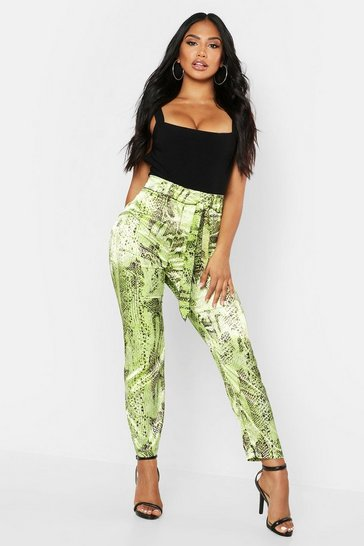 Womens Lime Neon Snake Tie Waist Slim Fit Trousers