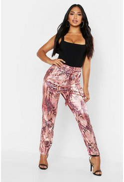 Womens Pink Neon Snake Tie Waist Slim Fit Trousers