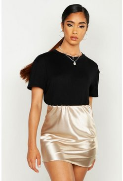 Womens Gold Plain Satin Bias Mini Skirt