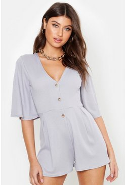 Grey Ribbed Button Down Playsuit
