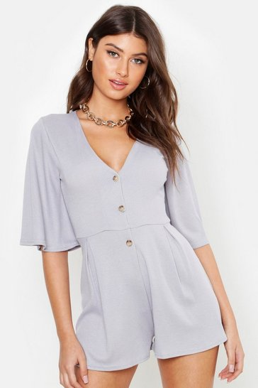 Womens Grey Ribbed Button Down Playsuit