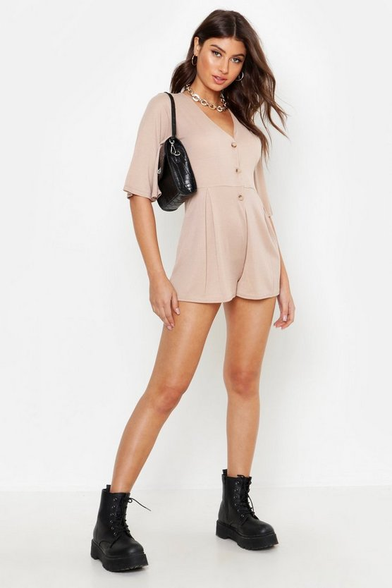 Stone Ribbed Button Down Playsuit