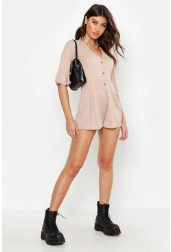 Stone Rib Button Down Playsuit