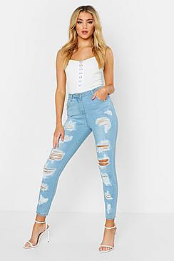 High Waisted Distressed Skinny Jean