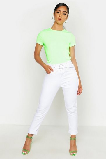 Womens White Belted Mom Jean