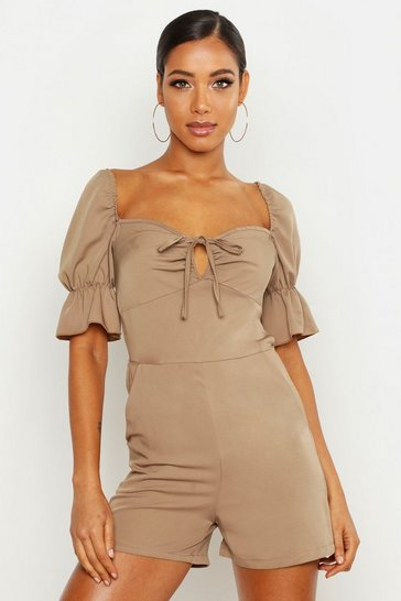 Womens Mocha Tie Front Playsuit