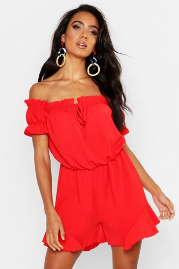 Womens Red Off Shoulder Gypsy Style Playsuit