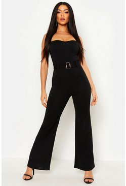 Womens Black Wide Leg Bustier Jumpsuit