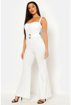 Womens White Wide Leg Bustier Jumpsuit