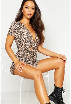Leopard Print Cut Front Playsuit