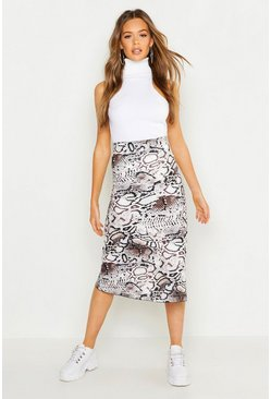 Womens White Bias Cut Snake Print Midi Skirt