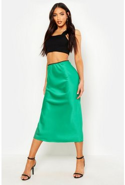 Emerald Satin Bias Cut Midi Skirt