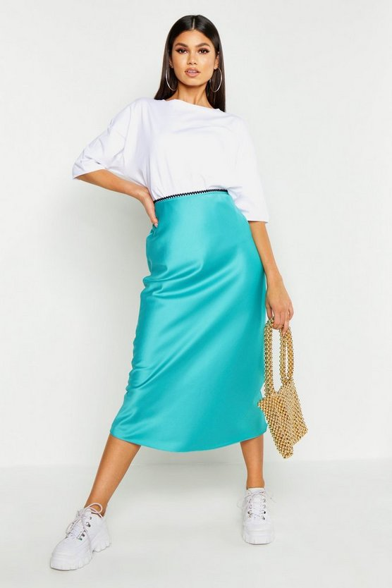 Womens Turquoise Bias Cut Satin Midi Skirt