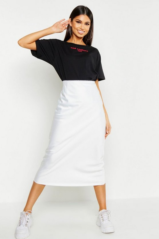 Womens White Bias Cut Satin Midi Skirt