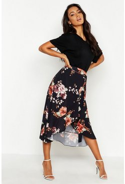 Womens Black Floral Wrap Ruffle Midi Skirt