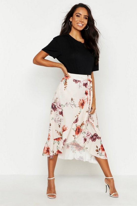 Floral Wrap Ruffle Midi Skirt by Boohoo