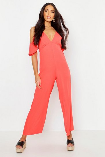 Womens Red Woven Plunge Culotte Jumpsuit