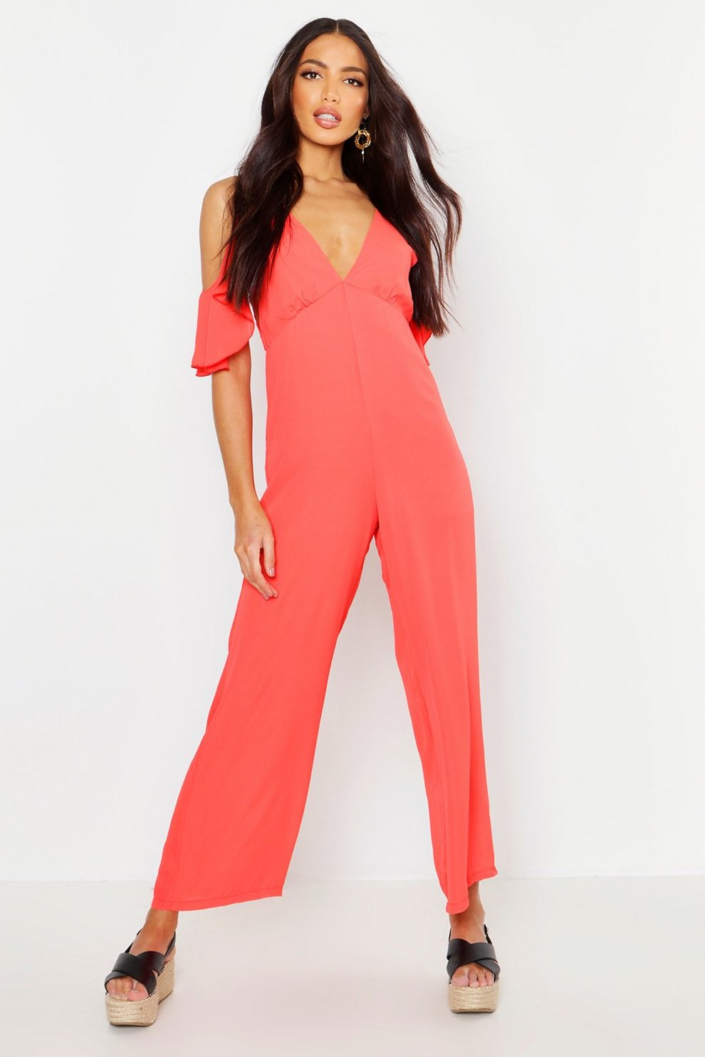 667f57cf5ca96 Womens Red Woven Plunge Culotte Jumpsuit