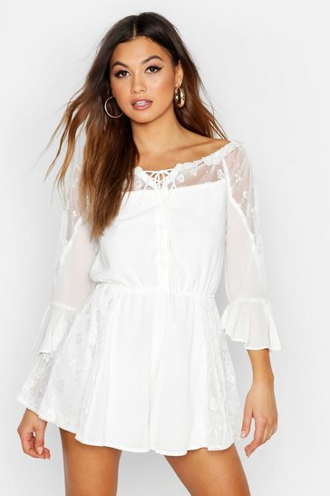 Womens White Lace Up Peasant Sleeve Playsuit