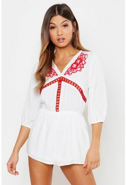 Womens Ivory Crochet Trim Romper