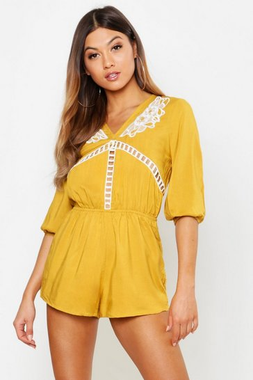 Womens Mustard Crochet Trim Playsuit
