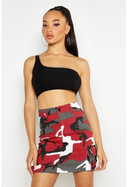 Womens Red Camo Cargo Mini Skirt