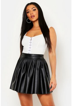 Womens Black Leather Look PU Skater Skirt