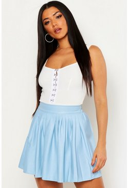 Womens Sky Leather Look PU Skater Skirt