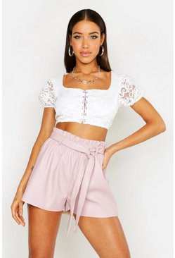 Blush PU Paper Bag Shorts