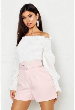 Blush Self Belt Woven High Rise Short