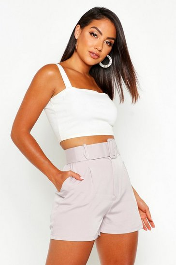 Womens Grey Self Belt Woven High Rise Short