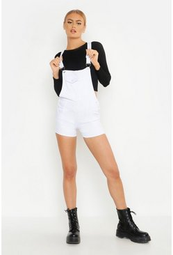Womens White Denim Dungaree Short