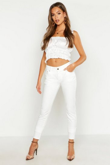 Womens White Mid Rise Skinny Jean