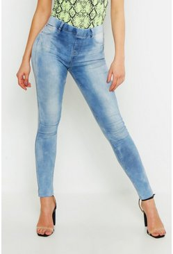 Womens Light blue Mid Rise Jeggings