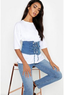 Womens Light blue Lace Up Denim Corset