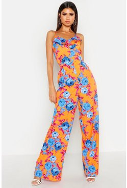Womens Orange Ruffle Front Knot Back Jumpsuit