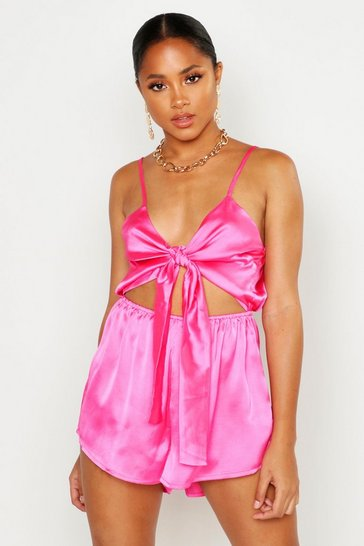 Womens Hot pink Knot Front Playsuit