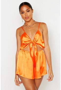 Womens Orange Knot Front Playsuit