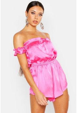 Womens Hot pink Off The Shoulder Ruffle Hem Bandeau Romper