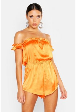 Womens Orange Off The Shoulder Ruffle Hem Bandeau Playsuit