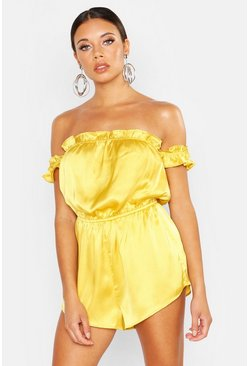 Womens Yellow Off The Shoulder Ruffle Hem Bandeau Playsuit