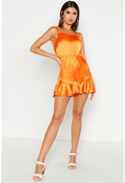Womens Orange Tie Shoulder Flippy Playsuit